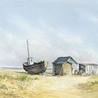 Beached Boat – Seaside Art Gallery – Beach Watercolour Painting By Woking Artist David Drury – Fine Art Prints For Sale