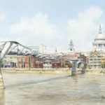 Millennium Bridge – London Art Gallery – Footbridge Across River Thames – Watercolour Painting By Woking Artist David Drury – Fine Art Prints For Sale