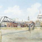 Millennium Bridge – London Art Gallery – Footbridge Across River Thames – Watercolour Painting By Woking Artist David Drury – Fine Art Prints For Sale