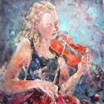 Classical Music – Orchestra Violin Player in Strings Section – Art Gallery – Female Violinist – Painting & Prints