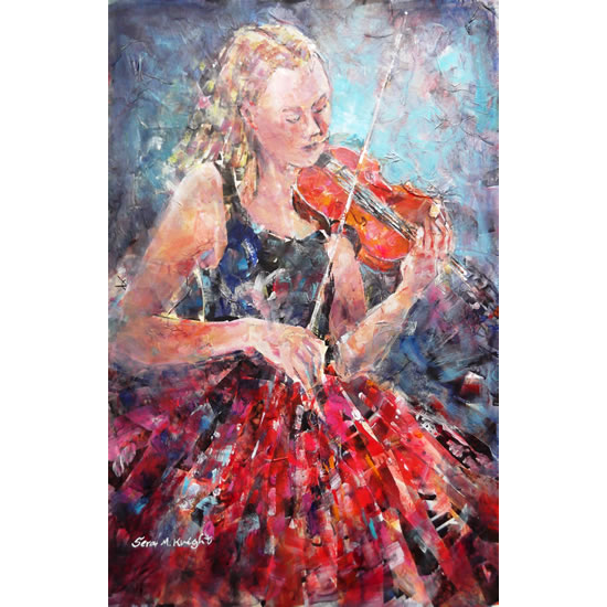 Classical Music Art Gallery - Female Violinist in Orchestra String Section Painting & Prints