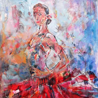 Flamenco Dancer In Red Dress – Dance Art Gallery – Paintings & Prints