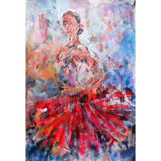 Flamenco Dancer In Red Dress - Dance Art Gallery - Paintings & Prints