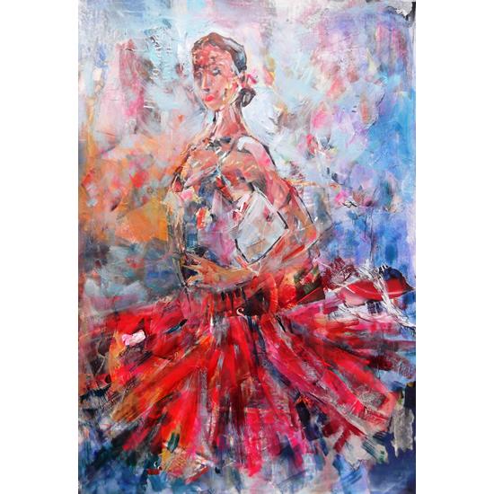 Flamenco Dancer In Red Dress - Dance Art Gallery - Paintings & Prints