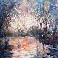 Forest Walk On Icy Winter Day – Fine Art Prints – Painting By Woking Surrey Artist