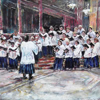 Music Art Gallery Church Choir Singing Evensong Service – Conductor Is Musical Director – Art Prints Of Painting Commission Online