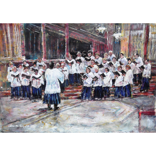 Music Art Gallery - Church Choir Singing At Evensong Service - Conductor Is Musical Director - Art Prints Of Painting Commission Available Online