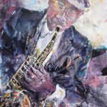 Saxophone Player At Jazz Club – Music Art Gallery – Prints Of Painting Available