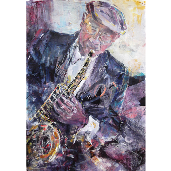 Saxophone Player At Jazz Club - Music Art Gallery - Prints Of Painting Available