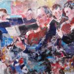 Orchestra Playing At Full Swing – String Section – Music Art Gallery – Prints Of Painting Available