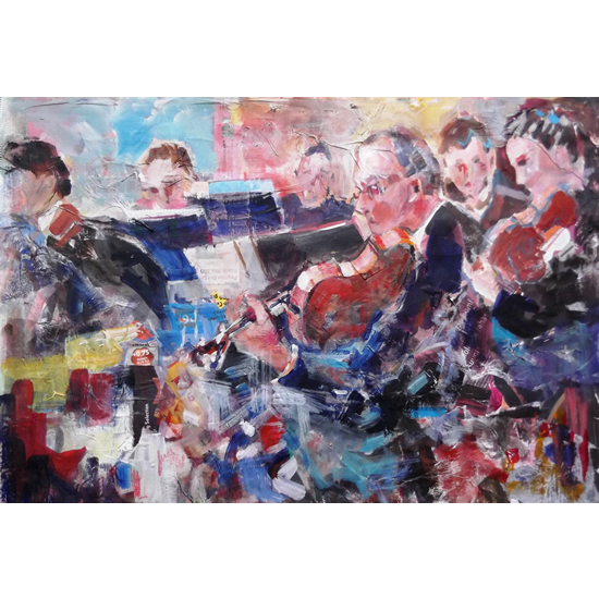 Orchestra Playing At Full Swing - String Section - Music Art Gallery - Prints Of Painting Available