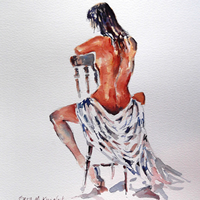 Nudes Art Gallery – Naked Woman Sitting – Prints Of Painting Available