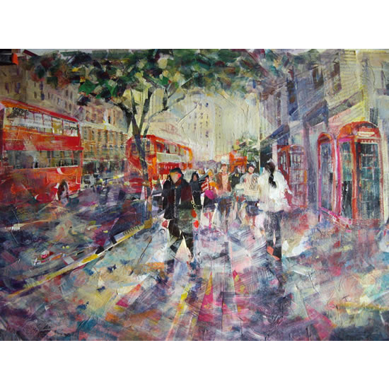 Red London Buses & Phone Boxes Painting - Woking Surrey Art Gallery