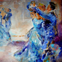 Swirling (Ballroom Dancing) Painting By Artist Sera Knight