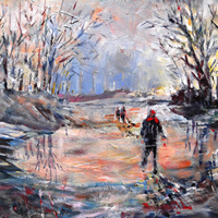 Country Walk On Icy Winter Day – Fine Art Prints – Painting By Woking Surrey Artist
