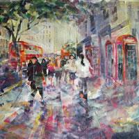 Red London Buses & Phone Boxes Painting – Woking Surrey Art Galleries