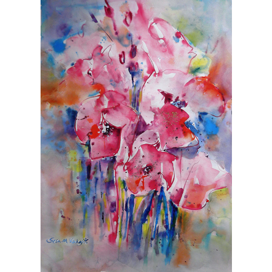 Flowers - Pink Floral Arrangement - Painting in Woking Surrey Art Gallery - Art Prints Of Painting Commission Available Online