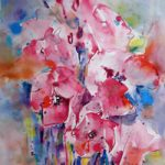 flowers-pink-floral-arrangement-painting-woking-art-gallery