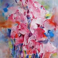 flowers-pink-floral-arrangement-painting-woking-art-gallery