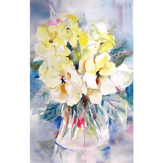Flowers - Yellow Wild Roses Painting - Woking Art Gallery - Paintings & Prints