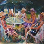 Garden Tea Party Ladies In Hats At Table With Parasol