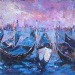 Gondolas Venice Painting Italy Art Gallery