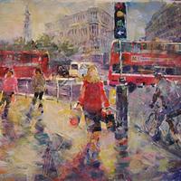 London Painting Lively Street Scene