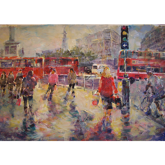 London Art Gallery - Painting Of Lively City Street Scene - Framed and Canvas Prints Available Online