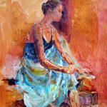 Ballet Dancer Painting Ballerina Pulling Ballet Shoes On