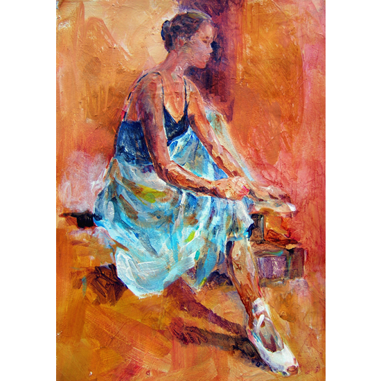Ballet Dancer Painting - Ballerina Sitting Pulling Ballet Shoes On - Art Prints Available Online