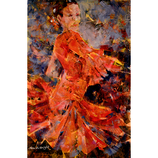 Flamenco Dancer In Orange - Surrey Dance Art Gallery - Art Prints Of Painting Available Online