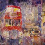 Red Bus In London England At Night London Art Gallery