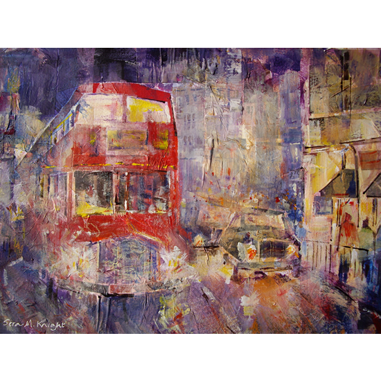 Red Bus In London England At Night - Painting From London Art Gallery - Art Prints Of Painting  Available, Framed & Unframed