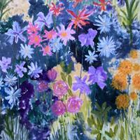 Art Prints of Blue Flowers Painting – Hampton London Artist Jennifer Brown
