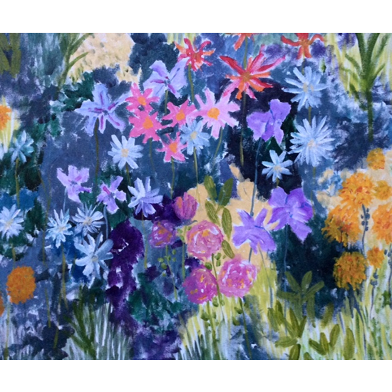 Art Prints Of Blue Flowers Painting Available Online - Floral Paintings By Hampton London Artist Jennifer Brown on Surrey Artists Website