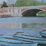 Hampton Court Bridge Art Painting By Chessington Art Group Artist Margaret Russell