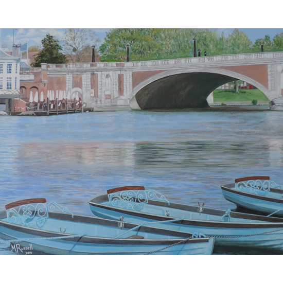 Hampton Court Bridge Art Painting By Molesey & Chessington Art Group Artist Margaret Russell