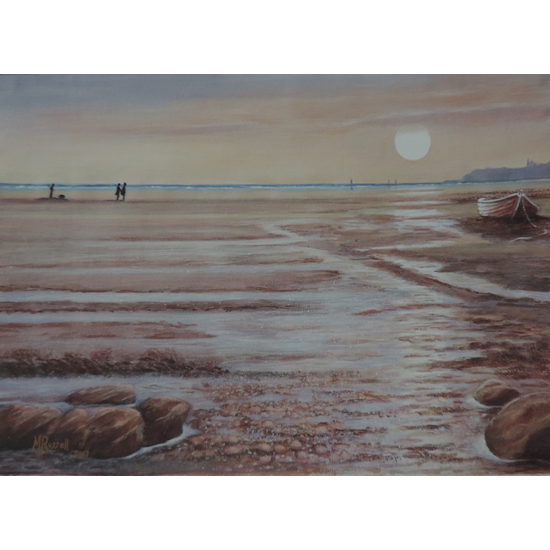 Sunset at Sandsend Beach Whitby Scarborough North Yorkshire Fine Art Print - Acrylic Painting By Chessington Art Group Member Margaret Russell