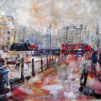 London Trafalgar Square View Towards Lions – City Art Gallery – Prints Of Painting Available