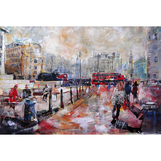 London Trafalgar Square View Towards Lions - City Art Gallery - Prints Of Painting Available