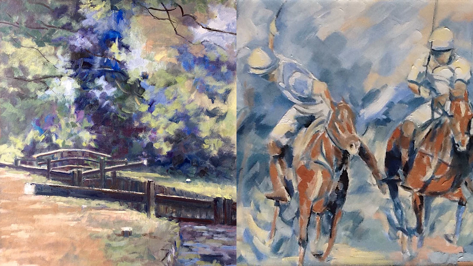 Art Exhibition at Barbers Gallery & Framing in Woking Surrey - Anne Marie Nijeboer Paintings of River Wey and Polo Horses November 2017