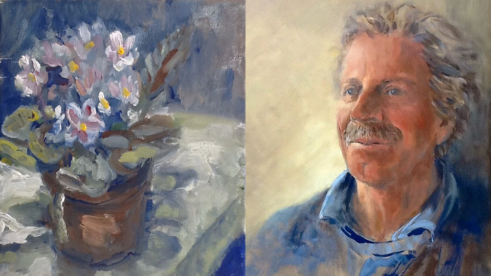 Anne Marie Nijeboer Woking Art Exhibition 2 paintings flowers and portrait