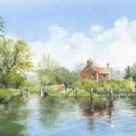 Walsham Gates Approach – Lock & Weir On Basingstoke Canal At Ripley – National Trust – Wey Navigation Art Gallery – Fine Art Prints Of Painting By Woking Surrey Artist