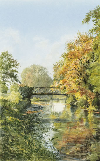 Bowers Bridge Jacobs Well - Wey Navigation Guildford - Surrey Scenes Art Gallery - Fine Art Prints For Sale