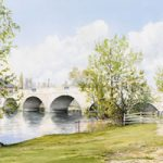 Chertsey Bridge River Thames Landscape Watercolour Painting – Surrey Art Gallery