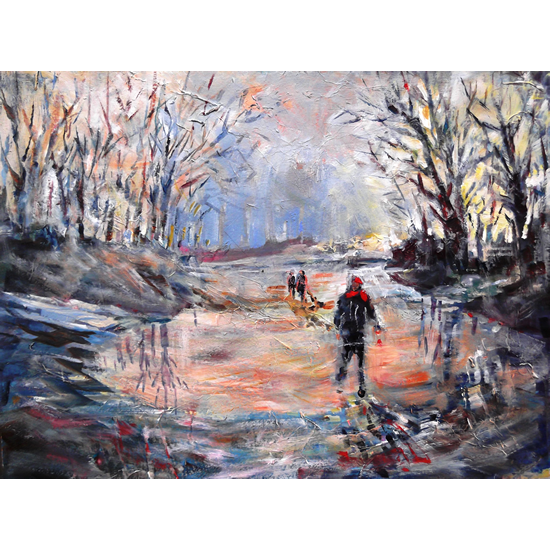 Country Walk On Icy Winter Day - Fine Art Prints -Painting By Woking Surrey Artist