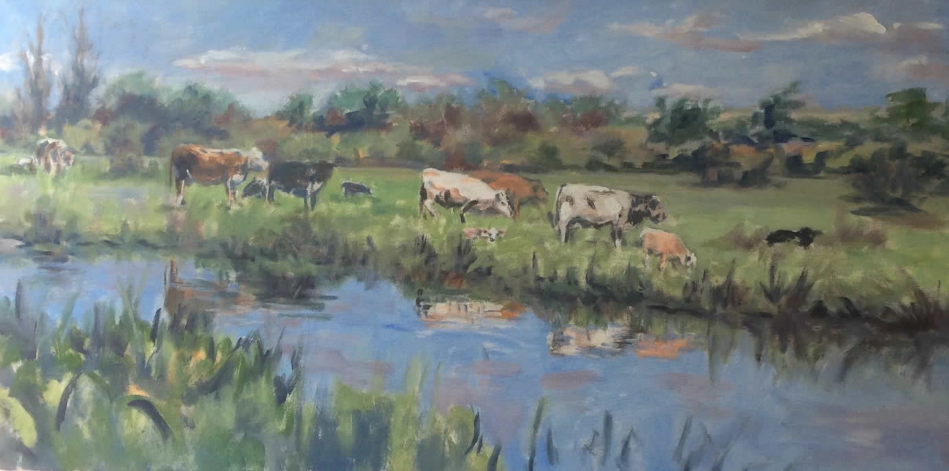 Cows by River Wey Anne Marie Nijeboer Art Exhibition in Woking Surrey at Barbers Gallery & Framing