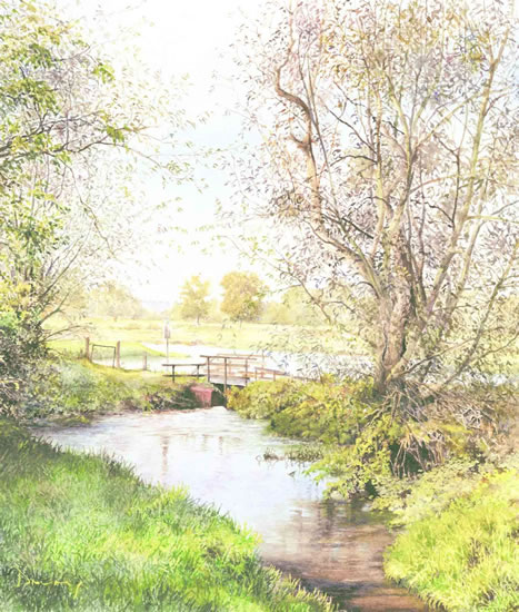 Wey At Pyrford - Foot Bridge On Basingstoke Canal - National Trust - Wey Navigation Art Gallery - Fine Art Prints Of Painting By Woking Surrey Artist