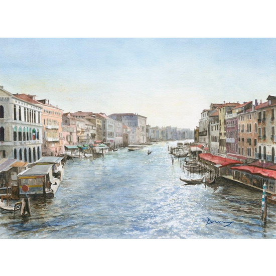 Venice Art Gallery - Grand Canal In Sunlight - Watercolour Painting By Woking Surrey Artist David Drury - Fine Art Prints For Sale