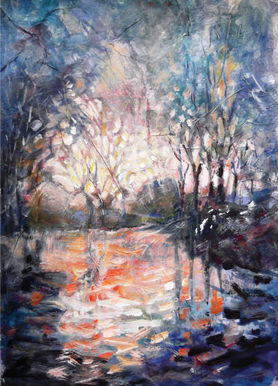 Icy Winter Day In The Forest - Painting by Woking Surrey Artist